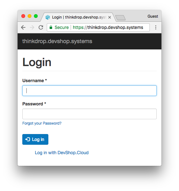 The default login form for DevShop with one minor difference.